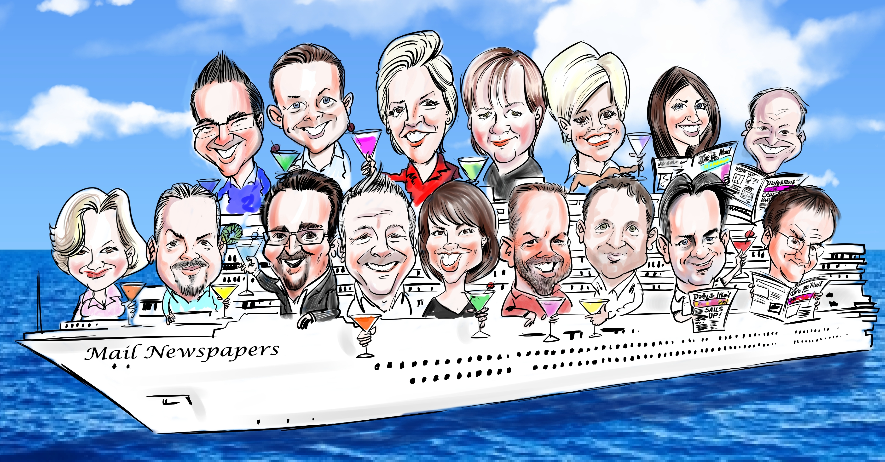 Group Caricature for the Daily Mail Classified Staff