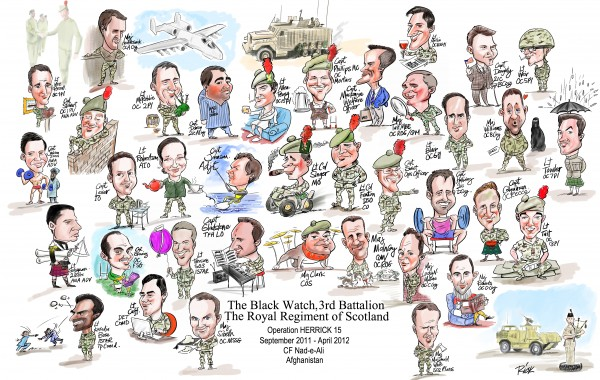Officers' Mess Group Caricatures