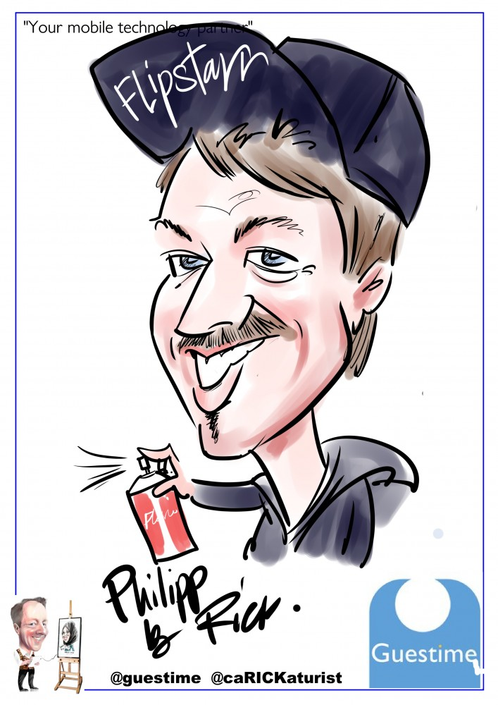 iPad caricature with corporate bespoke template