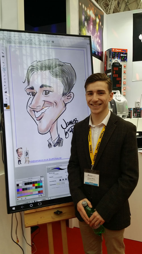iPad caricatures drawn live on screen