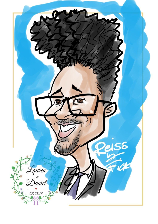 Colour quick caricature digital drawn at wedding live