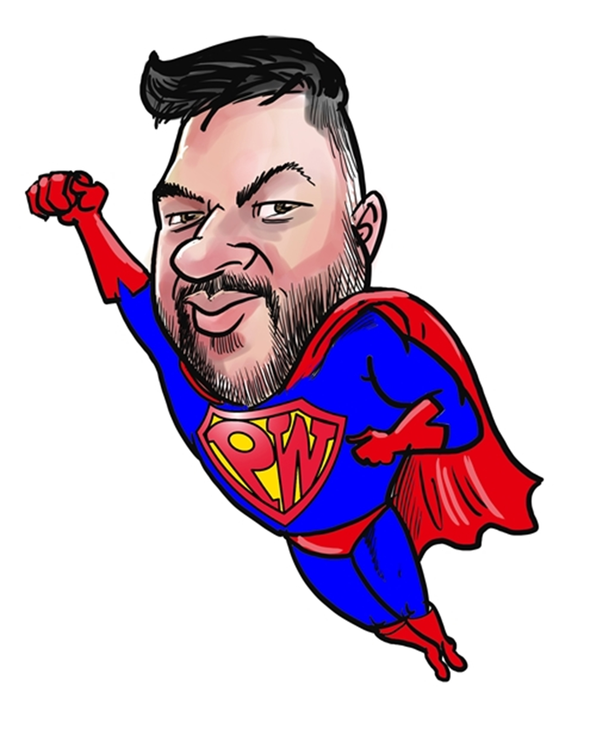 Digital painting cartoon of man dressed and flying in Superman outfit