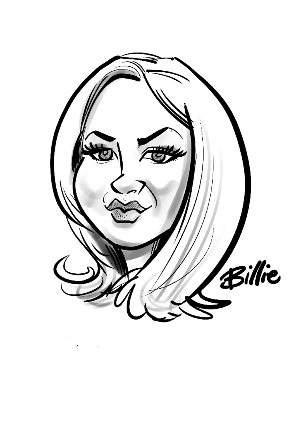 black line head and shoulders caricature