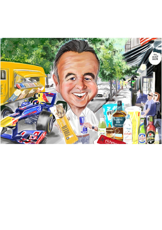 Colour digital caricature of Formula One fan in Paris street