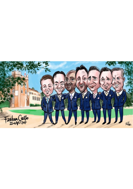 Groomsmen digital caricature painting