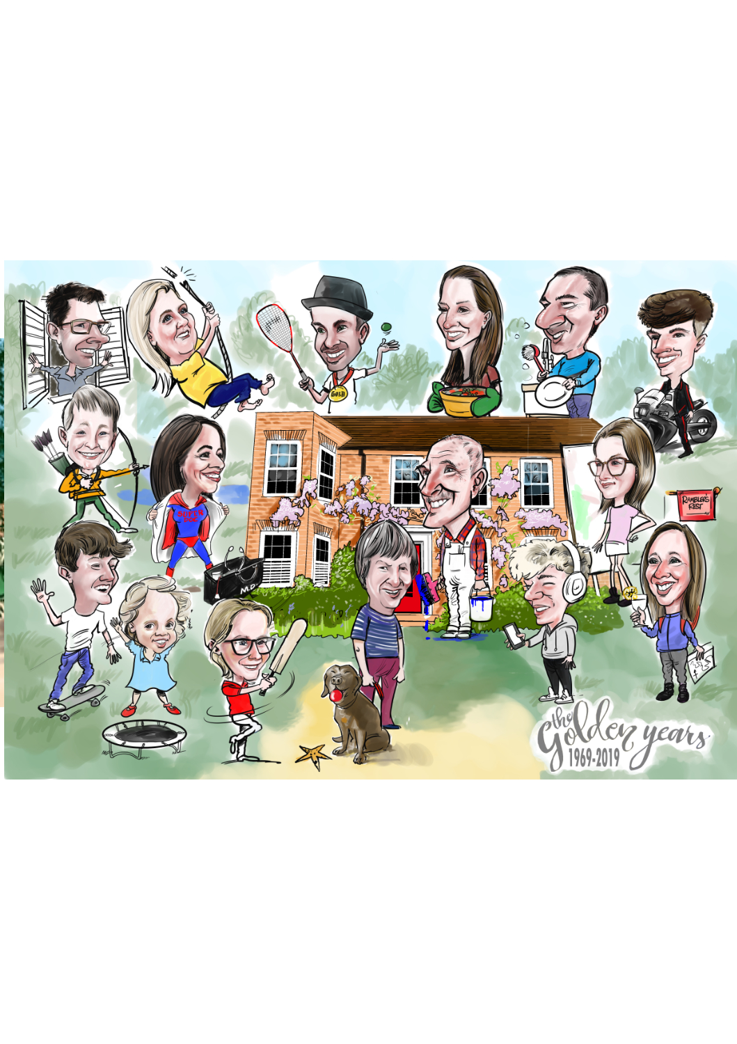 Family group colour caricature situated around house.
