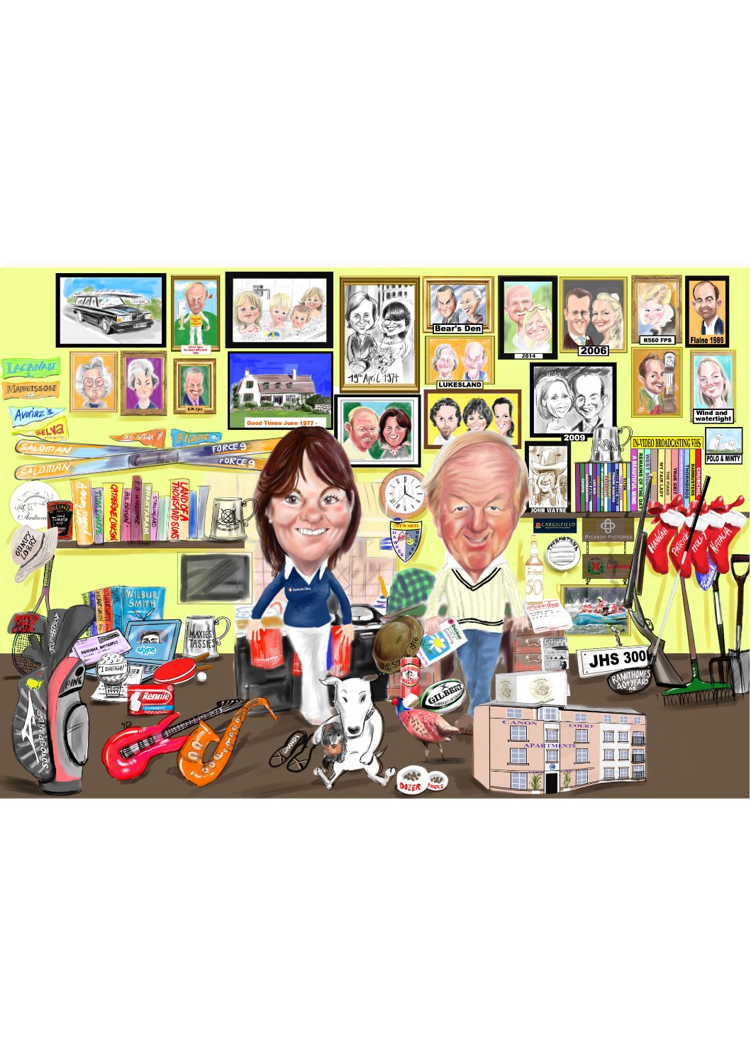 Couple colour caricature in house with walls covered with family pictures