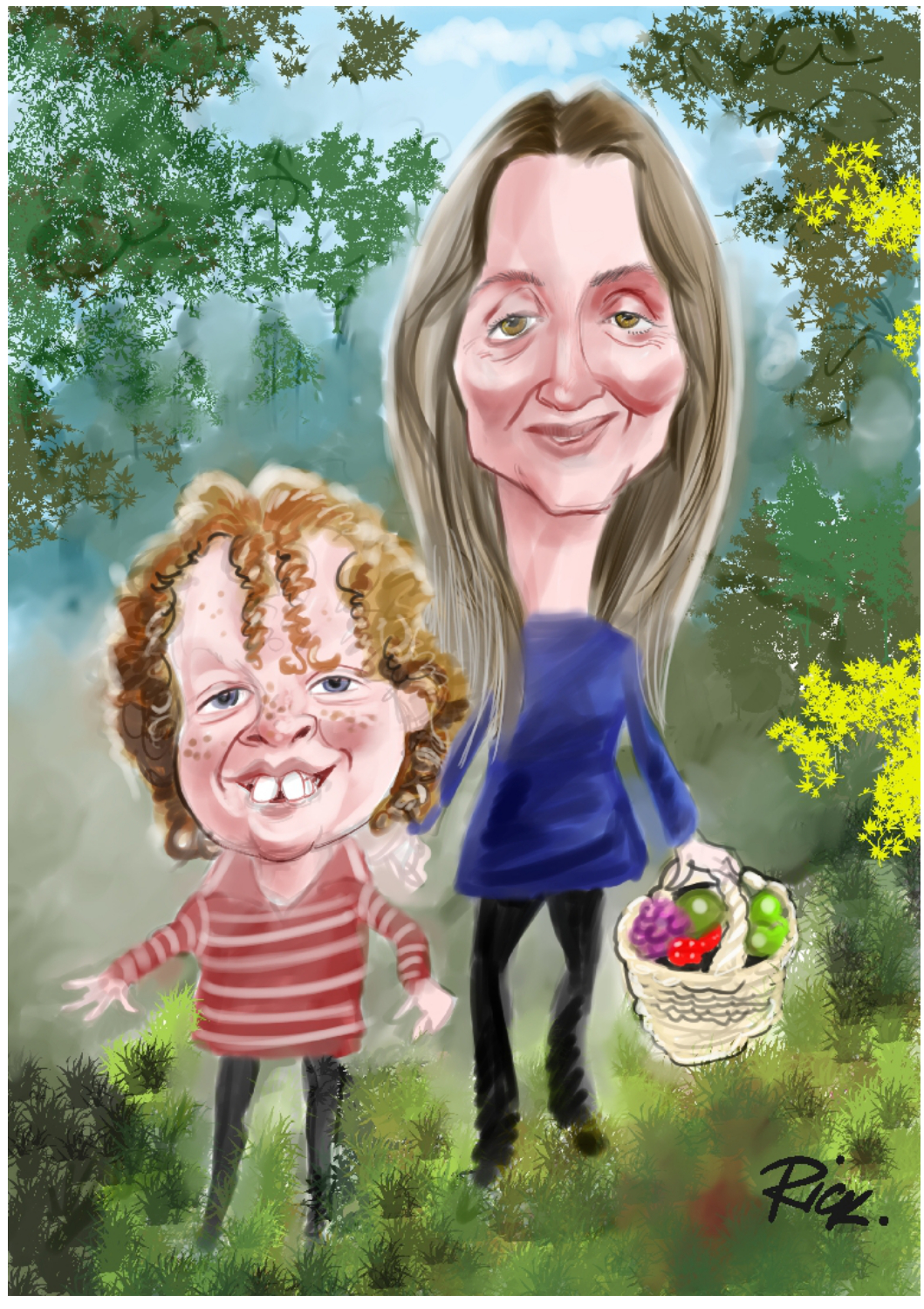 Young boy and his mother in countryside setting full colour caricature