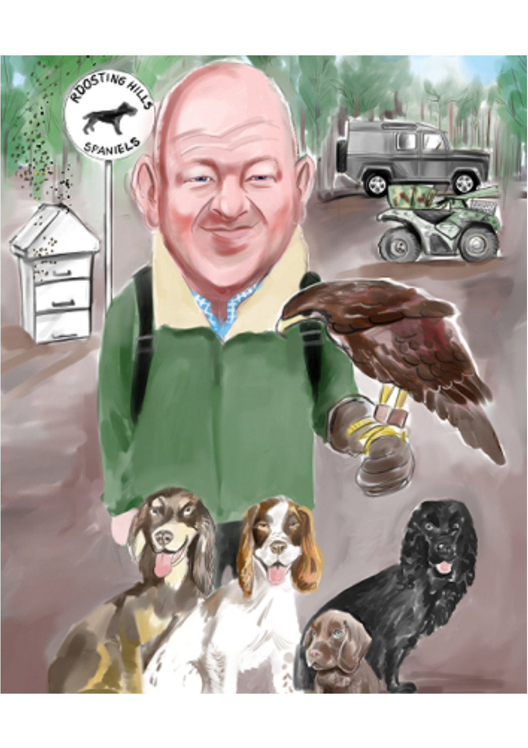 Colour caricature of estate manager falconer with hunting dogs and landrover