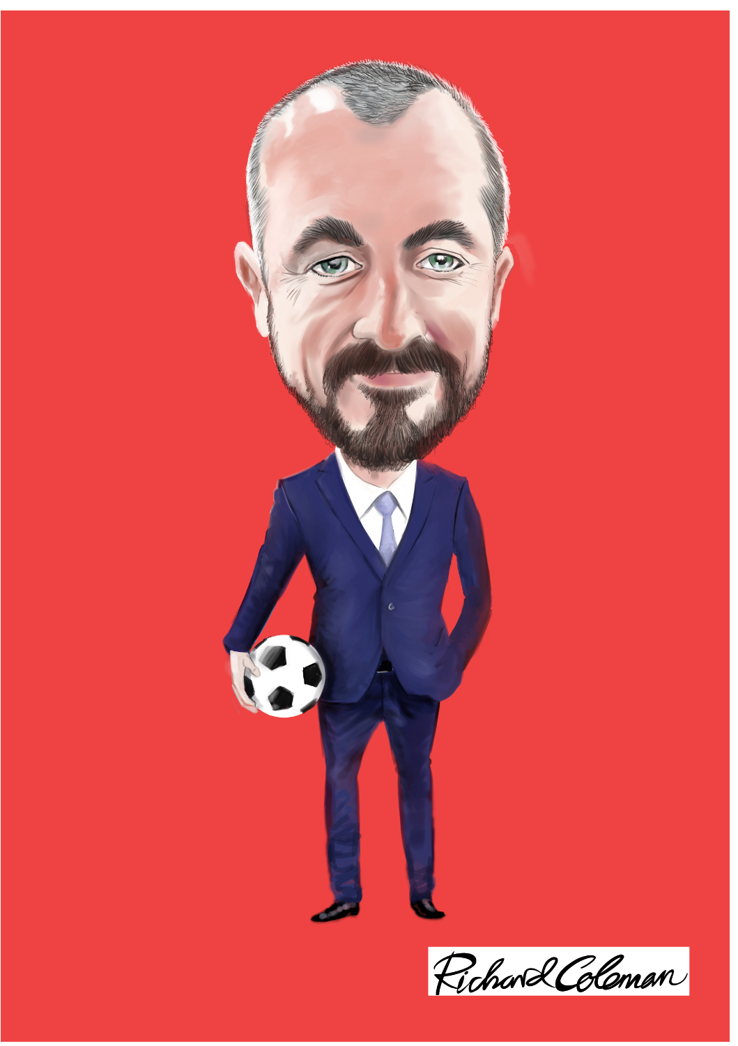Single colour digital caricature of businessman with football under arm.