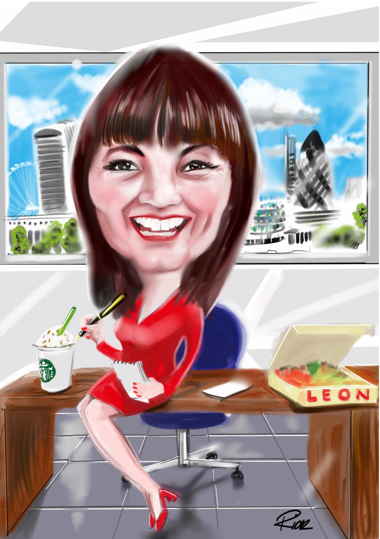 Single businesslady posing on work desk with cityscape background