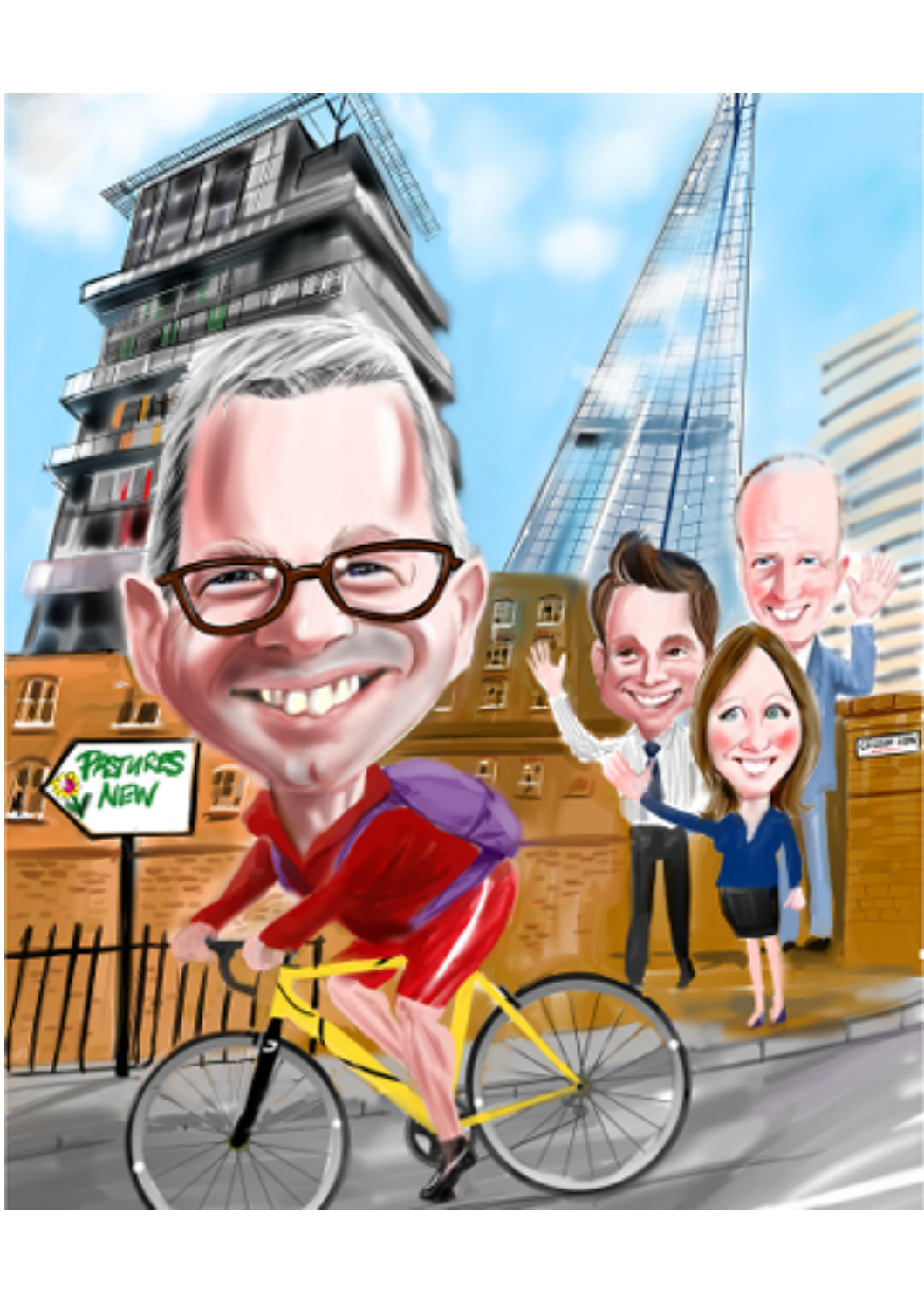 Full colour digital caricature of cyclist with Shard background and work colleagues waving goodbye