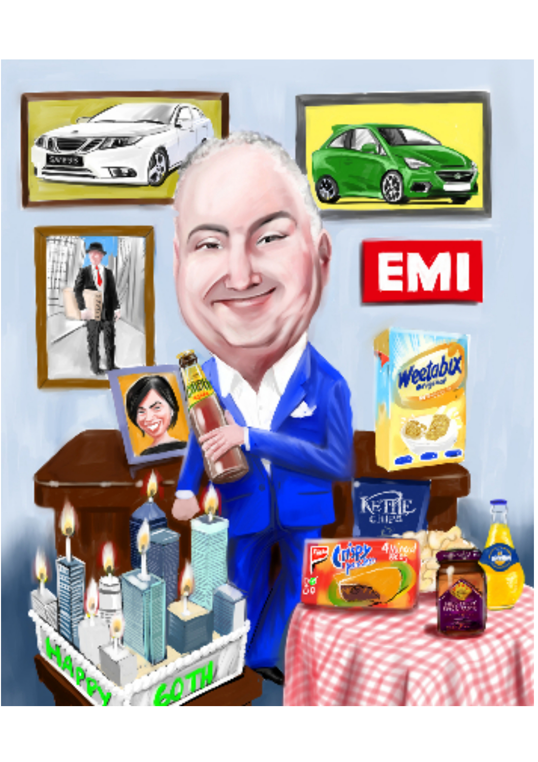 Fulll colour caricature of businessman with company products and cake designed like City buildings