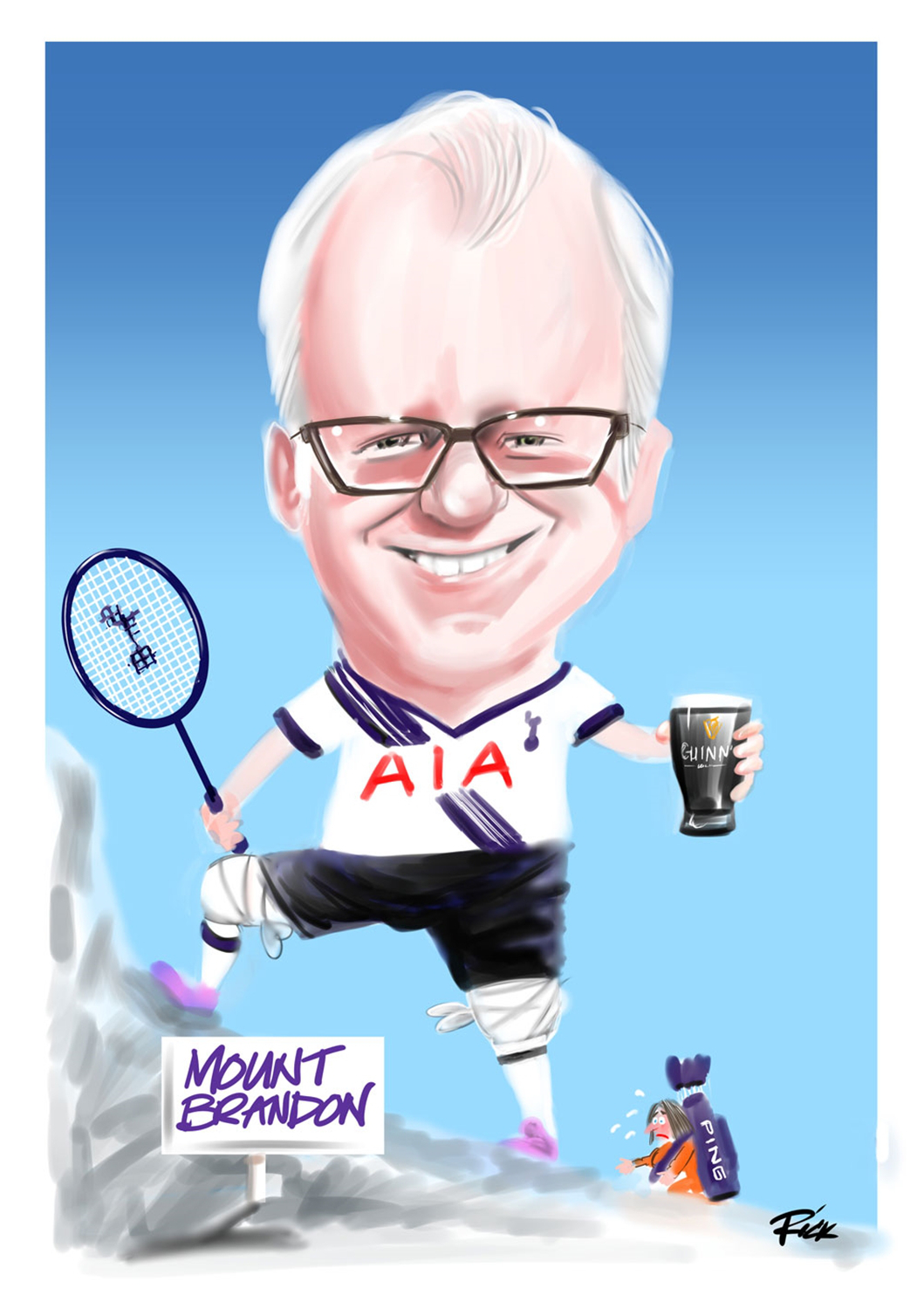Full colour caricature of Spurs fan with badmington racquet and pint of Guiness