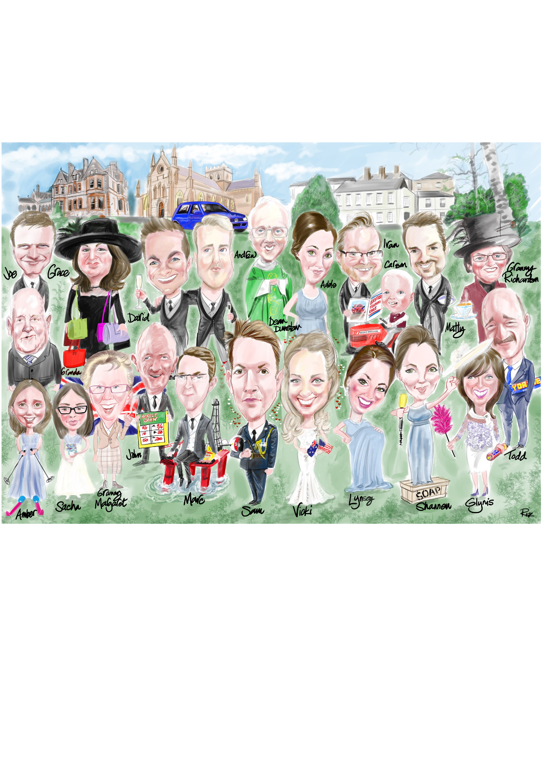 digital caricature family wedding group full colour gathered in front of house.