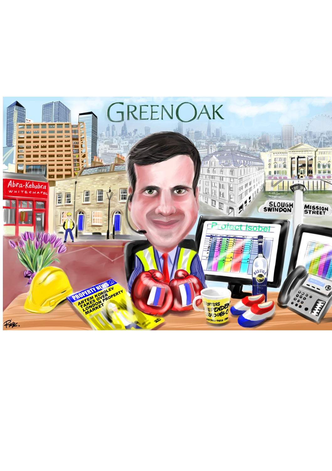 Colour caricature of businessman at desk with computer screens and London cityscape in background