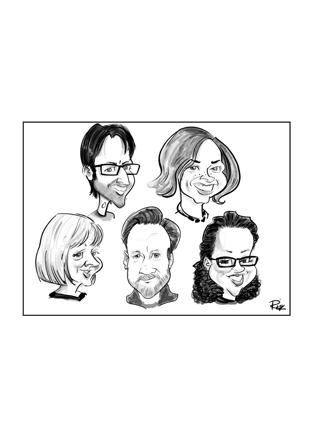 digital mono caricature of 5 persons heads