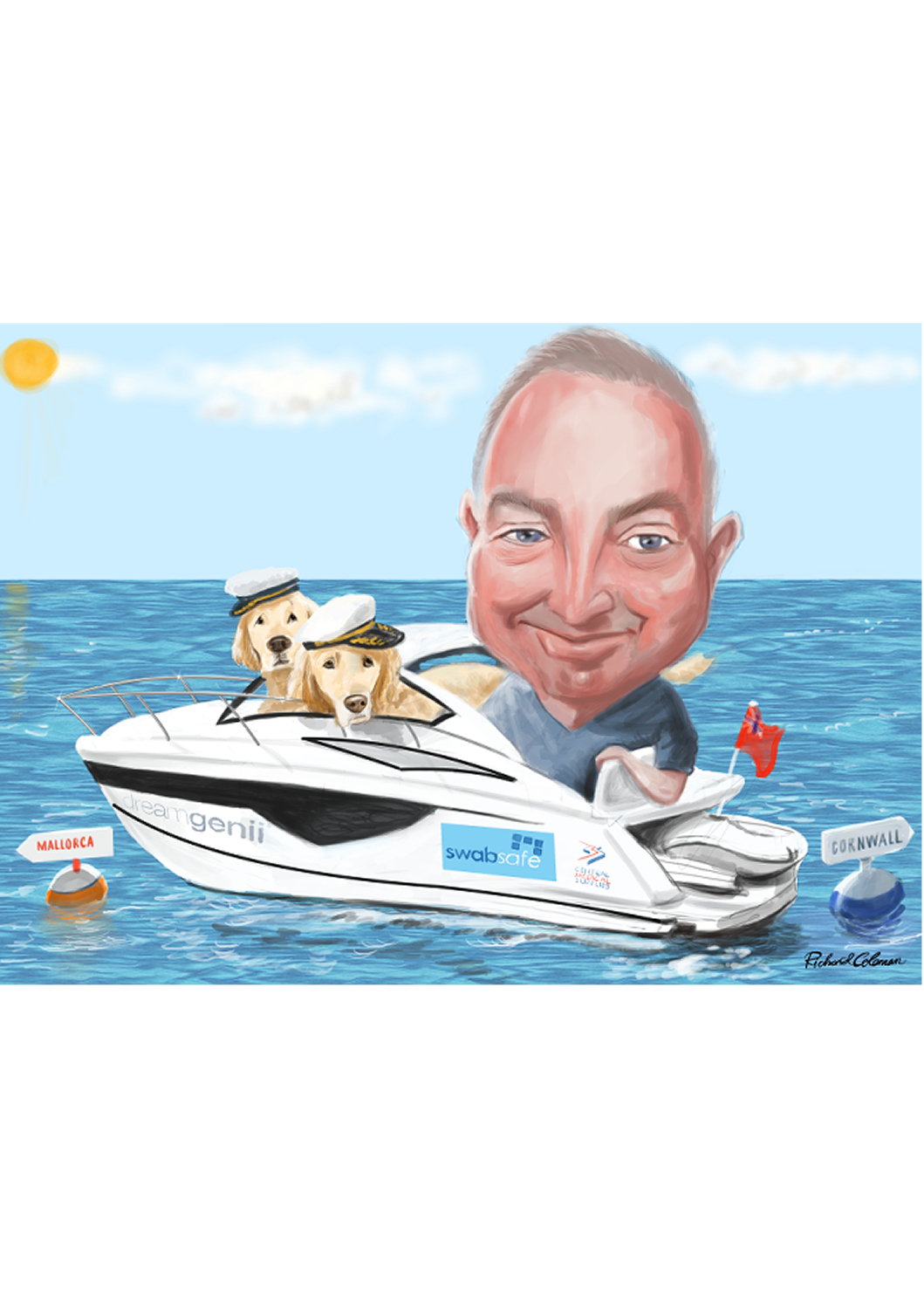 man in motor boat at sea with two dogs.